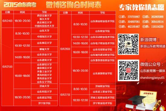2015山东高考微博咨询会时间表